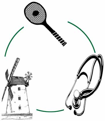 Tennis racket stethoscope and windmill